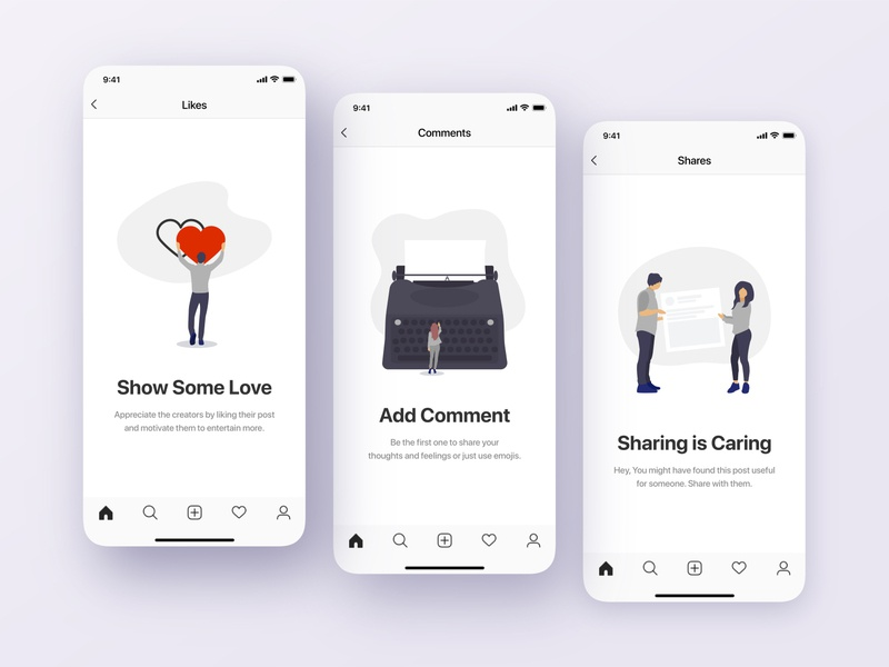Like, Comment & Share | Empty States Screens share comment like ux writing messaging messenger message app social media empty screen empty state app illustration ui ux