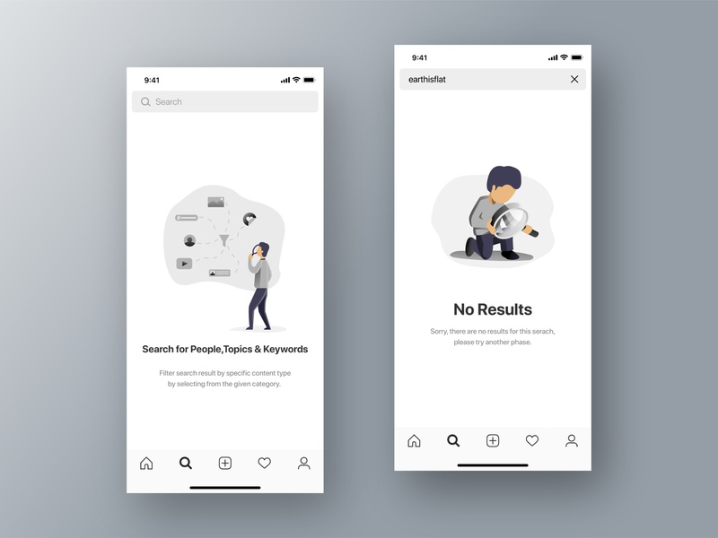 Search & No Results | Empty States Screens messenger no results search ui ux ux writing socialmedia messaging message app illustraion empty state empty screen app