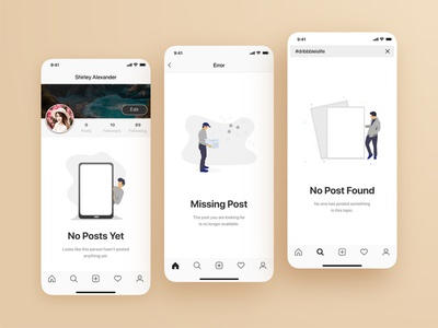 No Posts Yet, Missing Post, No Post Found | Empty States Screens missing page no post ux ui ux writing social media messaging messenger message app illustraion empty screen empty state app