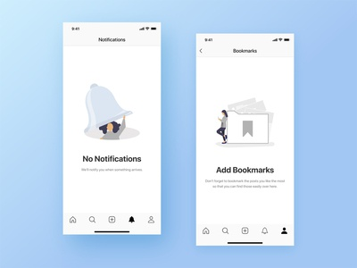 No Notifications & Add Bookmarks | Empty States Screens ux writing ui ux socialmedia messenger messaging bookmark notification message app illustraion empty state empty screen app