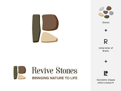 Revive Stones | Logo Design - Branding logotype logo design logo branding brand identity stone pictorial marks nature natural logo symbols brand mark