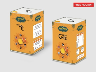 Packaging Design | AmritVarsha Gunkari Ghee (Free Mockup) food geometric ancient royal mandala packagingdesign hindidesign free mockup free mockup ghee hindi indian india dairy product package packaging