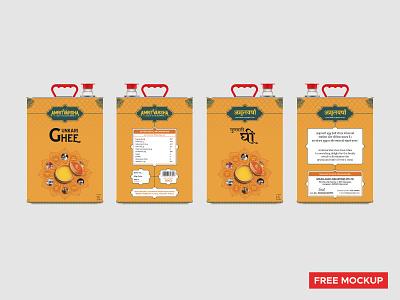 Packaging Design | AmritVarsha Gunkari Ghee (Free Mockup-Front) packaging