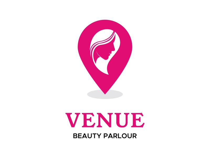 Venue - Beauty Parlour logo identity logo design location based beauty logo beauty location logo