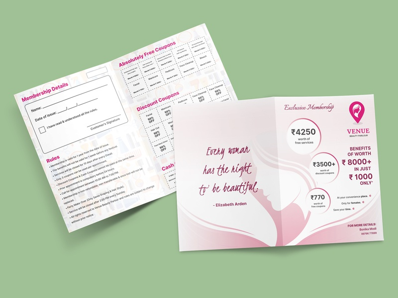 Membership Card Design for Venue - Beauty Parlour beauty membership card membership branding design advertising print brochure leaflet marketing flyer
