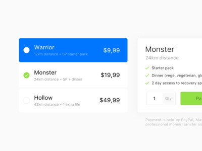 Pricing - freebe table pricing options select clean grid ui interface payment free freebe