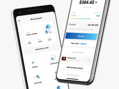 Insurance card / payment screen