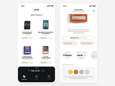 otto - coffee app icons purchase ios app coffee ux ui