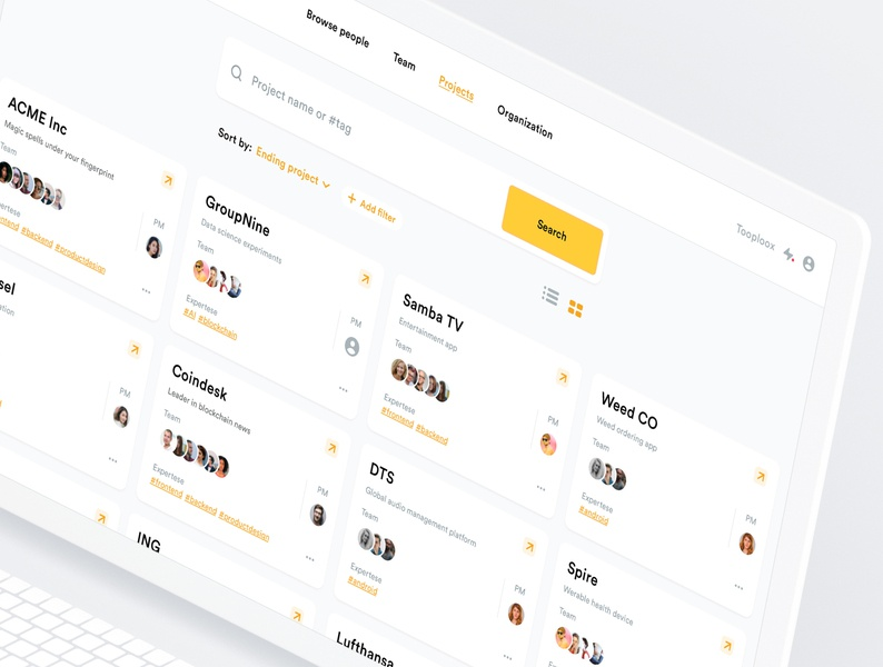 TeamStack - Project view simple application clean mockup interfaces dashboard design list web apps management project user inteface ui ux tooploox web app