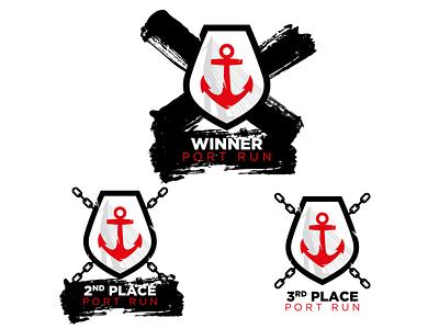 Port Run Medal icons/logos branding design vector illustration icons design iconset strategy branddesigner mark brand logodesigner logodesign grunge brush medal medals icons logo