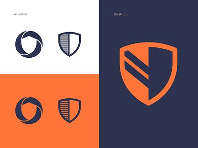 logo variations VPN process variation network blue orange construction branding agency vpn service vpn network vpn secure shield logotype color logos design logodesign mark logo branding