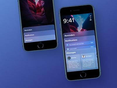 iOS Lockscreen Redesign neue glass 3d neumorphism design clean ux color ui minimalism