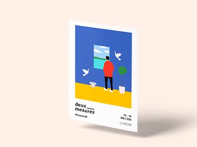Deux Mesures Poster color logo typography branding minimalism social design illustration minimalist
