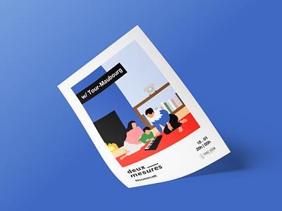 Deux Mesures Poster clean color typography vector branding illustration minimalism design social minimalist