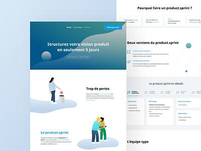 Product Sprint Website clean user website ux color minimalism design ui minimalist illustration