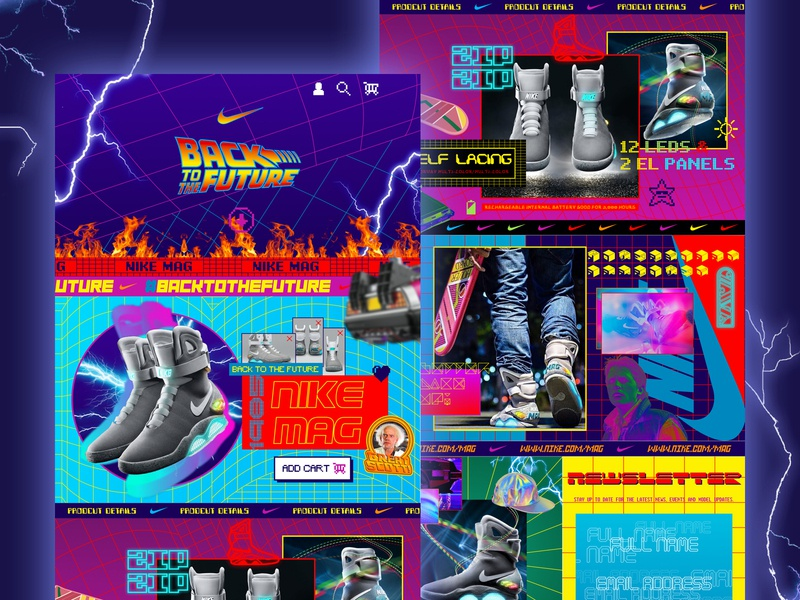 NIKE MAG Kooba Retro Challenge hypebeast sneakerhead sneaker busy neon colors 80s 90s blue purple retrowave retro challenge koobagoesretro retro backtothefuture nike shoes mag nike website ux ui