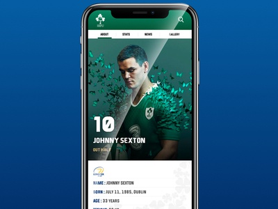 Daily UI 06: Rugby Player Profile new zealand daily challange daily 100 logo ux ui design ireland rugby