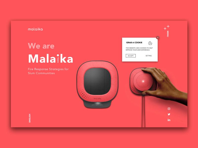 Malaika clean cookies device mega menu menu webdesign website hero image landing product uxui ui ux red
