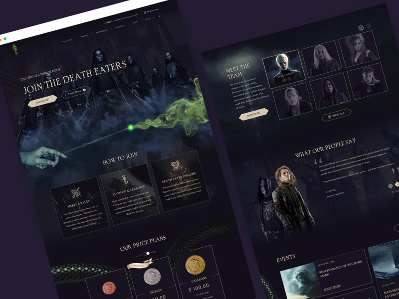 Voldemort Death Eaters Recruitment (Mocktober 2019) dribbbleweeklywarmup mocktober2019 2019 events mocktober team price table recruiting voldemort snake branding website ux design ui deatheaters hogwarts wizard dark harrypotter
