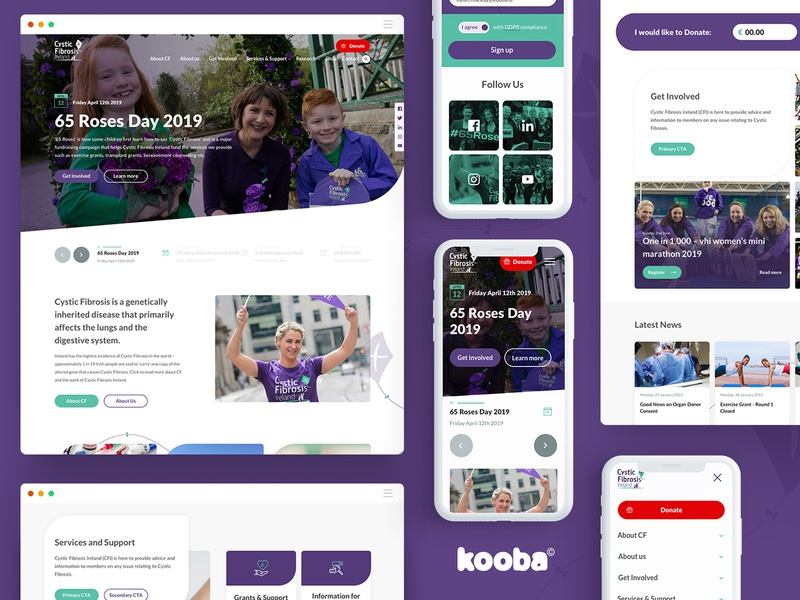 Cystic Fibrosis Ireland green organization volunteer donate voluntary organisation purple website design ux ui