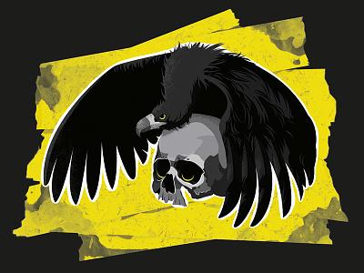 Trench animal texture illustration yellow fun art bird skull flat illustrator