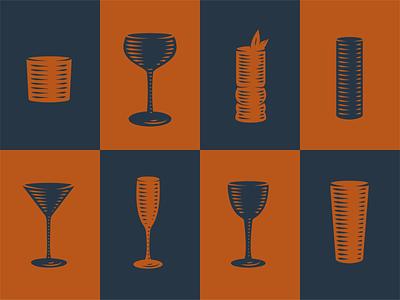 Echo Spirits Glassware Icons cocktails glassware bar distillery engraving vector detail icons illustration