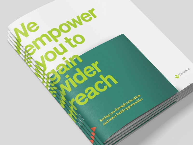 Unused Concept - TowerCo Cellular Carrier Brochure visual metaphor copywriting cover layering corporate print