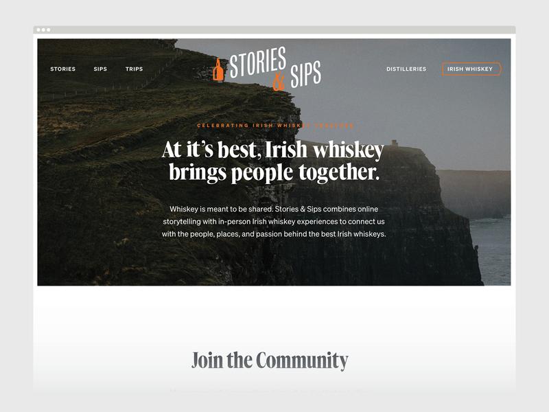 Unused Concept - Stories & Sips Website ireland irish whiskey website whiskey web design web brand design identity brand identity branding