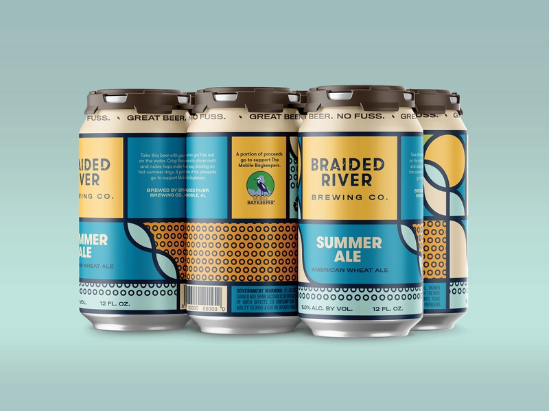 Braided River Brewing Company Can Concepts packaging package design mobile alabama craft beer can design brewery branding brewery branding brand identity beer label beer design beer alabama