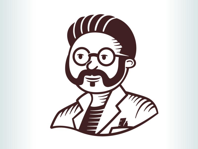 Symbol developed for Mortimer's Old Fashioned Sodas illustration character logo retro engraved moustache scientist soda beverage