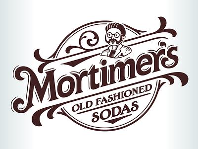 Logo developed for Mortimer's Old Fashioned Sodas logo character beverage soda scientist retro engraved