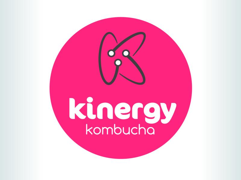 Kevin Creative - logo designed for a Kombucha beverage logo beverage energy kombucha motion movement vitality pink k