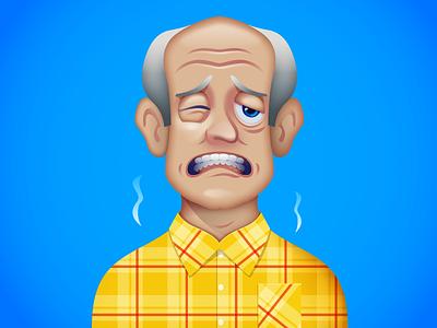 Pharmacy series - Upset stomach illustrator stylized diarrhea man illustration