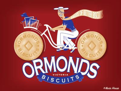 Ormonds Biscuits Victoria kevincreative poster food red vintage vector illustration illustrator retro