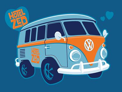 Hotel Zed Bus vdub love kevincreative orange blue illustration illustrator victoria retro bus volkswagen vw