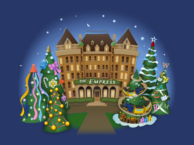 Christmas in Victoria 1 of 4 - Empress Hotel kevincreative illustration illustrator toys trees holidays empress victoria xmas christmas