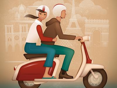 Lambretta - Vintage Travel Poster vintage lambretta travel scooter paris retro poster kevincreative france