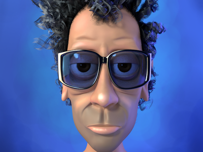 Tim Burton as a stop frame animation character. sunglasses blue kevincreative caricature 3d illustration tim burton blender character