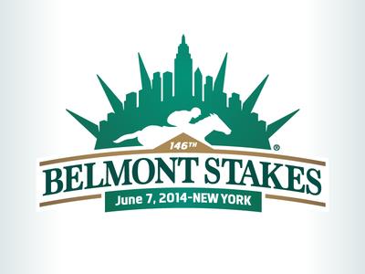 Kevincreative - Belmont Stakes 2014 logo logo design gold green skyline horse racing nyc logo