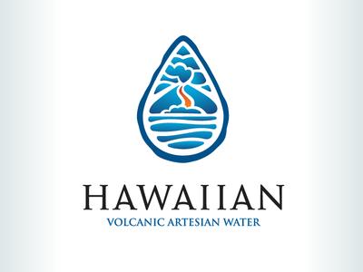 Kevincreative - Hawaiian Volcanic Artesian Water logo design ocean volcano water hawaii logo