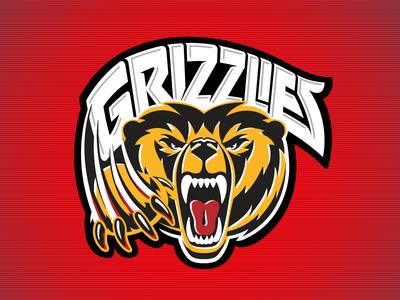 Kevincreative -  Grizzlies Hockey logo logo design gold red hockey sports bear grizzly logo