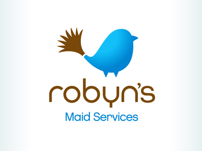 Kevincreative - Robyn's Maid Services logo design service cleaning brown blue robin bird logo