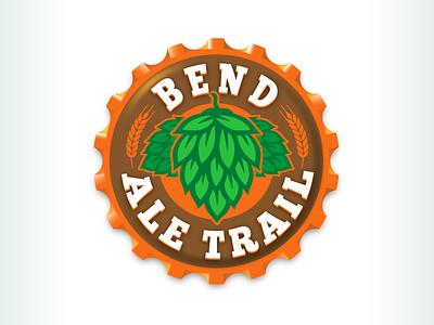 Kevincreative - Bend Ale Trail Logo craft brew brown green orange cap hops ale beer bend