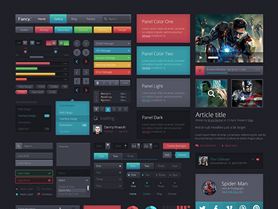 Fancy UIkit 1.0 ui kit interface web website buttons dark grey black fancy gradient glow
