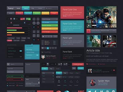 Fancy UIkit 1.0 ui kit interface web website buttons dark grey black fancy gradient glow