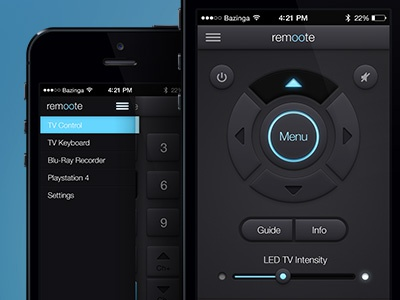 Remoote App app remote dark glow click media tv offcanvas iphone buttons slider switch