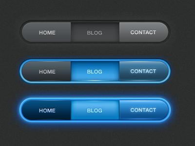 Menubar ui button menu navigation glow dark effects