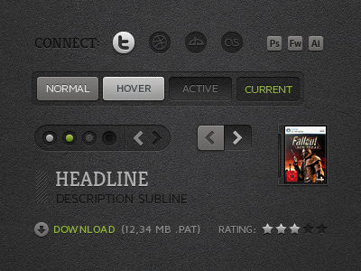 v3 UI Kit dark crisp ui web icons arrows navigation portfolio buttons