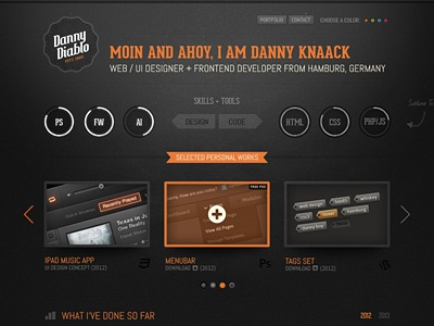 Dannydiablo V3 Color portfolio web dark black white grunge texture wordpress ui button css3 html5 icons ribbon arrows