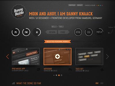 Dannydiablo V3 Color portfolio web dark black white grunge texture wordpress ui button css3 html5 icons ribbon arrows